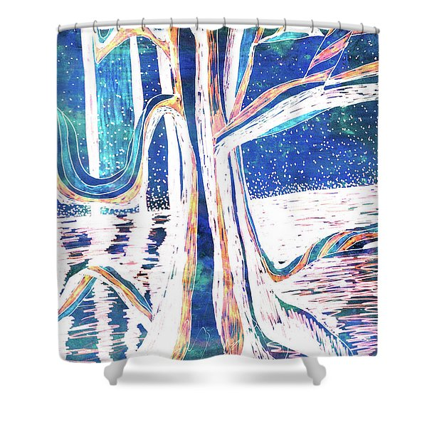Blue-white Full Moon River Tree Shower Curtain