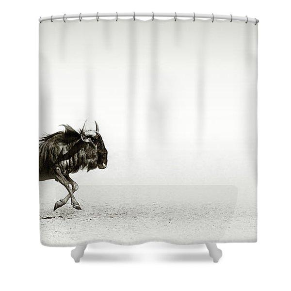 Blue Wildebeest In Desert Shower Curtain