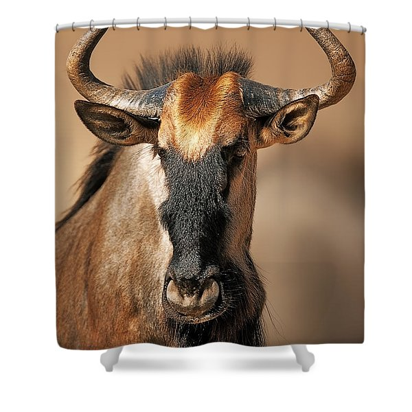 Blue Wildebeest Portrait Shower Curtain