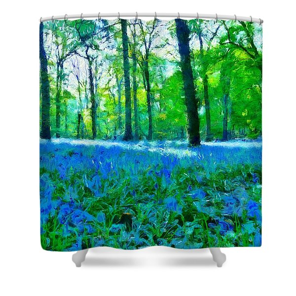 Bluebells In Woodland Shower Curtain