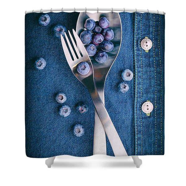 Blueberries On Denim II Shower Curtain