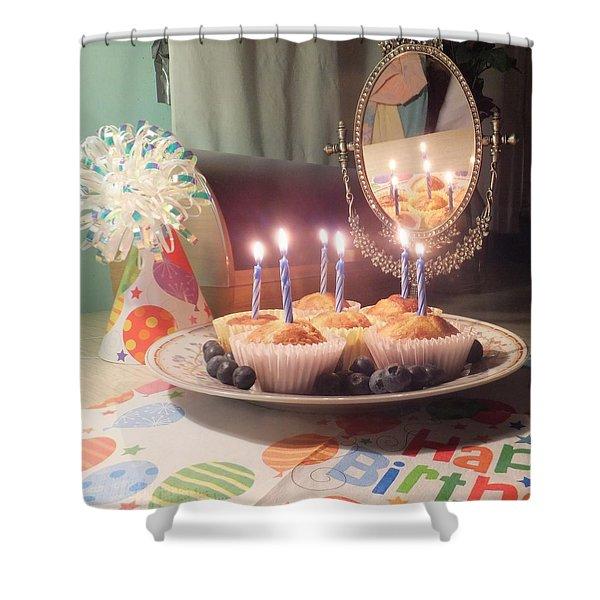 Blueberry Muffin Birthday Shower Curtain
