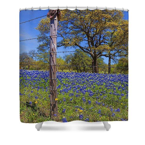 Bluebonnet Boot Post Shower Curtain