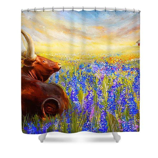 Bluebonnet Dream - Bluebonnet Paintings Shower Curtain