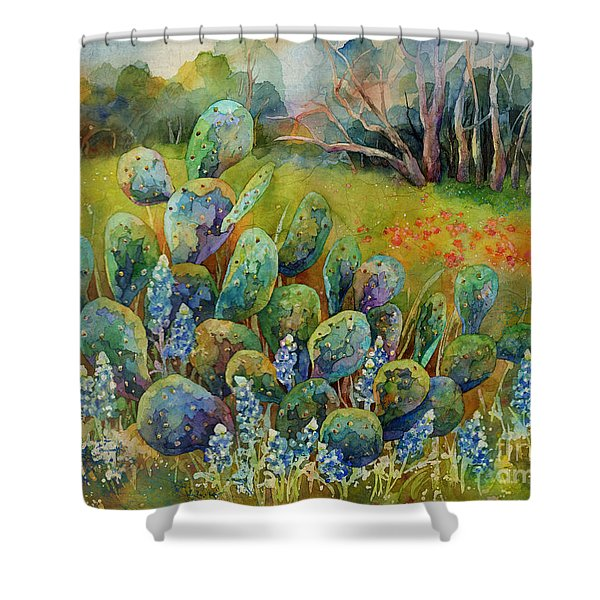 Bluebonnets And Cactus Shower Curtain