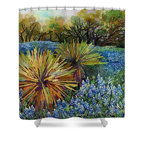 Bluebonnets And Yucca Shower Curtain