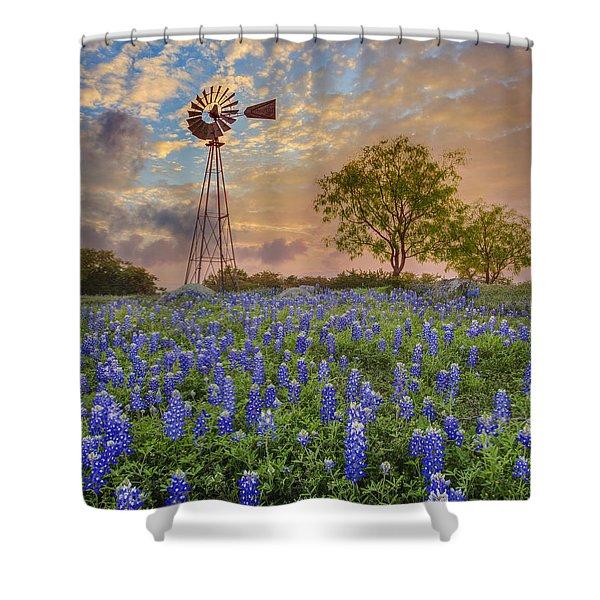 Bluebonnets Beneath A Windmill 2 Shower Curtain