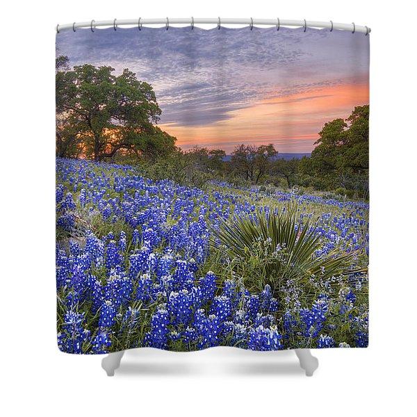 Bluebonnets Under A Texas Sunset 1 Shower Curtain