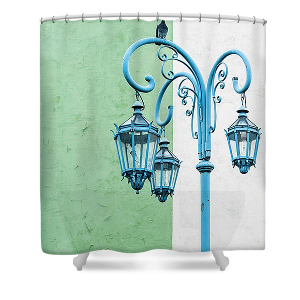 Blue,green And White Shower Curtain