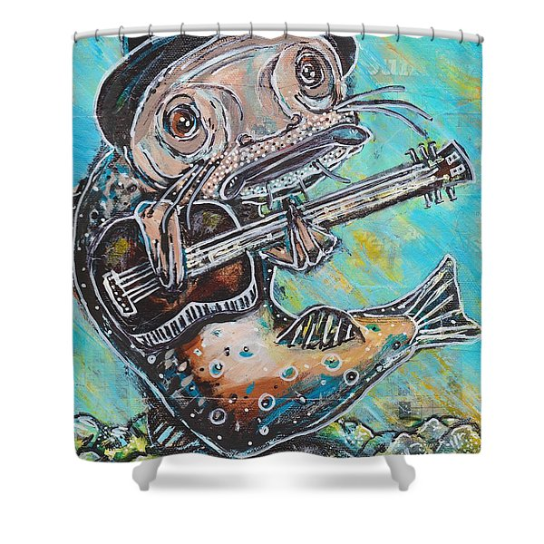 Blues Cat Revisited Shower Curtain