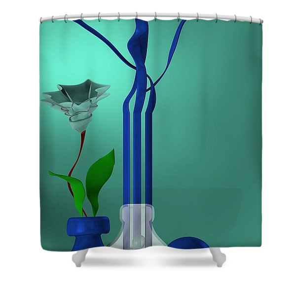 Bluish Still Life Growing Shower Curtain