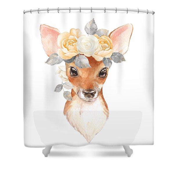 Blush Floral Deer Shower Curtain