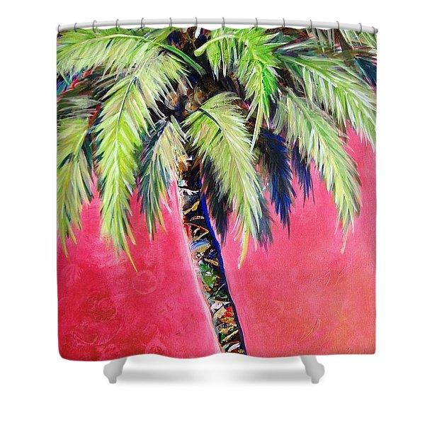 Blushing Pink Palm Shower Curtain