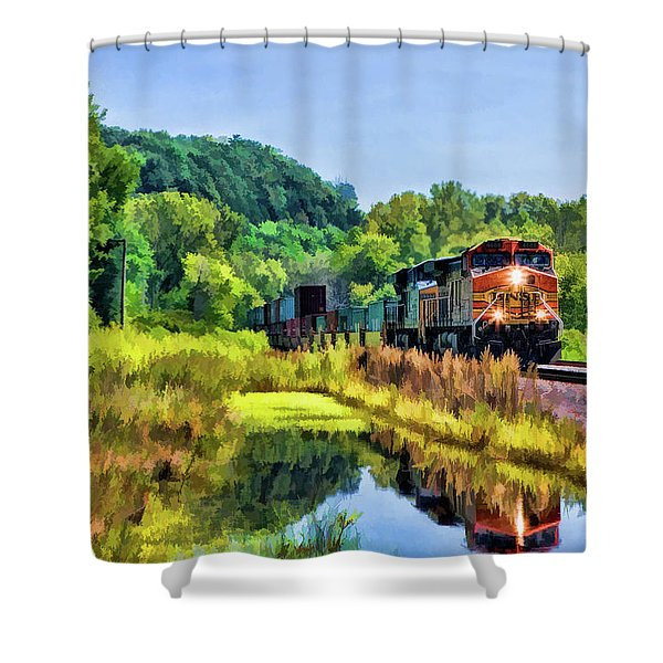 Bnsf Scenic Freight Train Shower Curtain