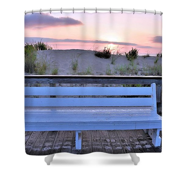 A Welcome Invitation -  The Boardwalk Bench Shower Curtain