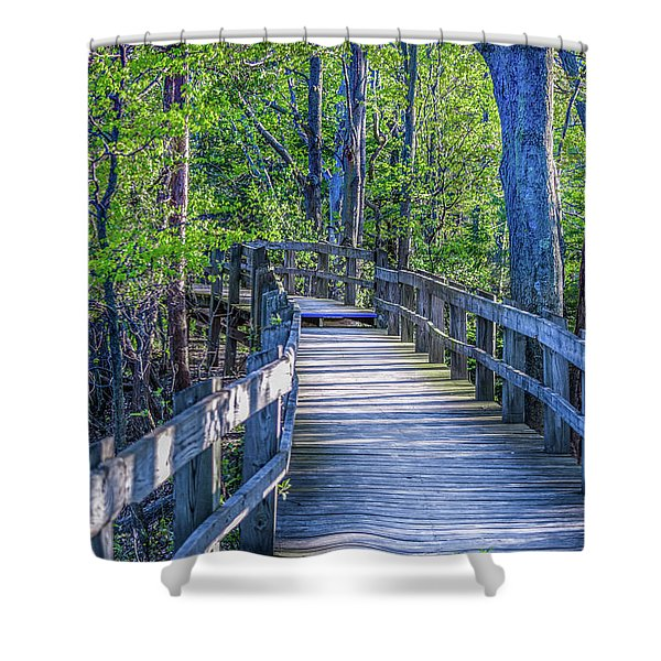 Shower Curtain featuring the photograph Boardwalk Going Into The Woods by Lester Plank