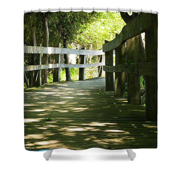 Shower Curtain featuring the photograph Boardwalk by Lester Plank