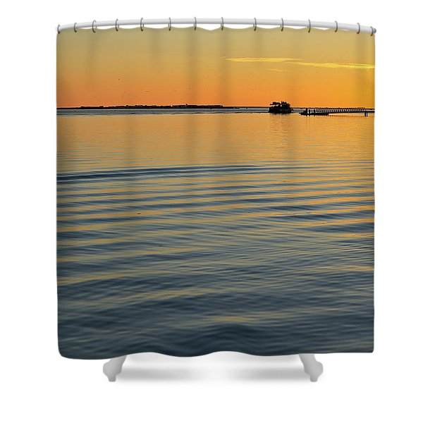 Boat And Dock At Dusk Shower Curtain