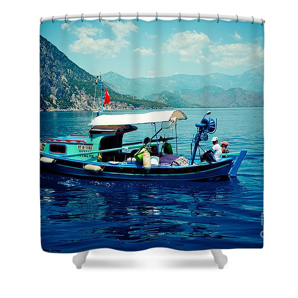 Boat And Sapfir Sea Seascape Artmif Shower Curtain