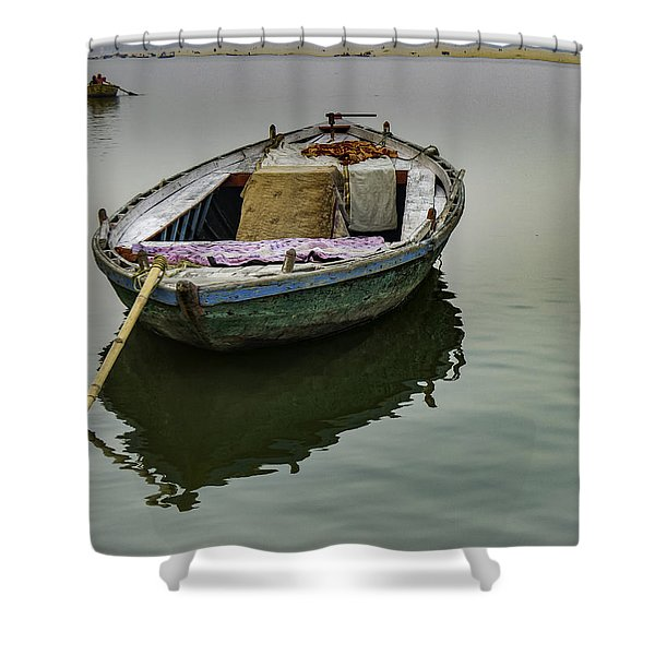 boat at Ganges Shower Curtain