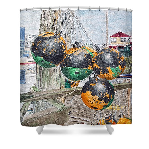 Shower Curtain featuring the painting Boat Bumpers by Dominic White