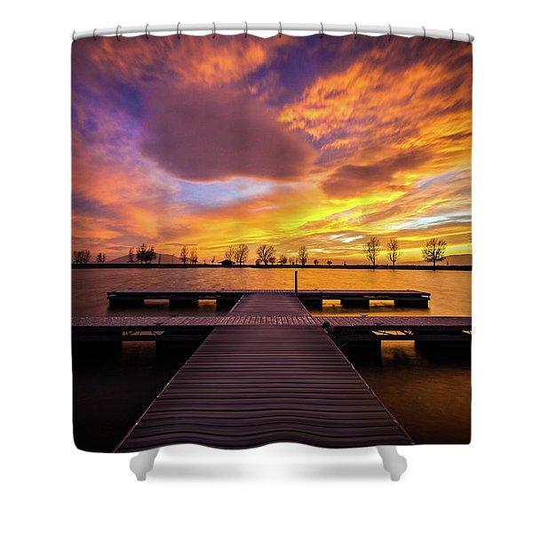 Boat Dock Sunset Shower Curtain
