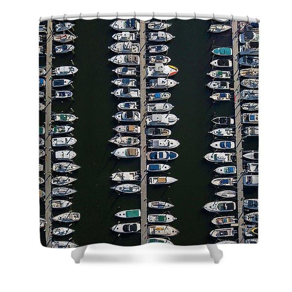 Boat Docks Aerial Photograph Shower Curtain