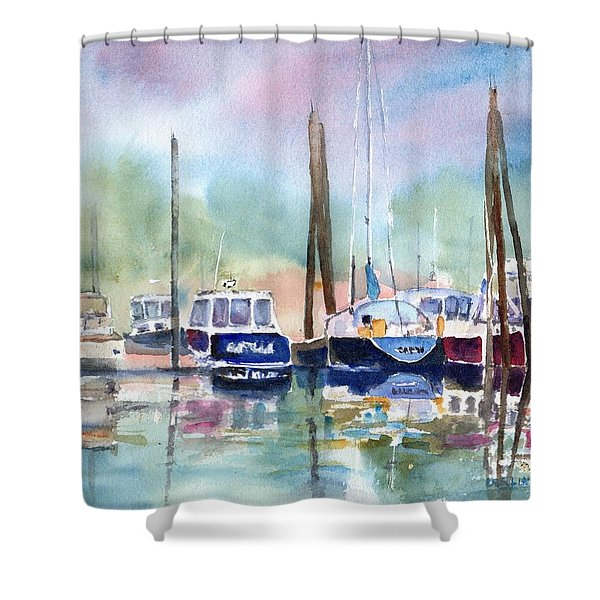 Boat Harbor In Fog Shower Curtain