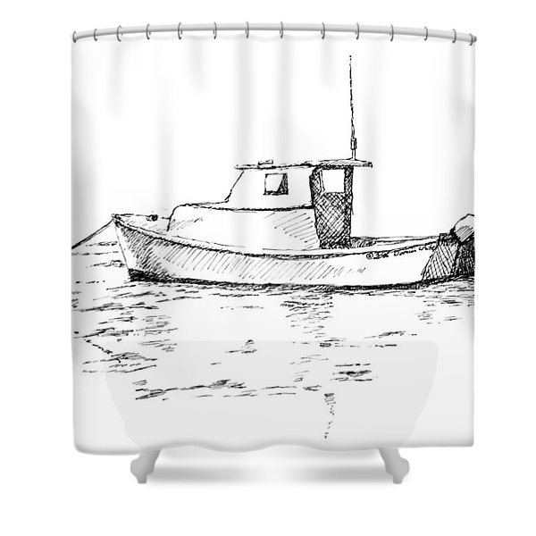Boat In Casco Bay Shower Curtain