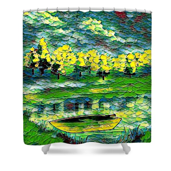 Boat On Lake Shower Curtain