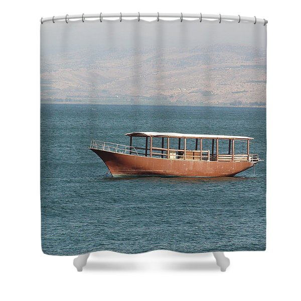 Boat On Sea Of Galilee Shower Curtain