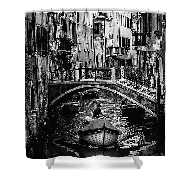Boat On The River-bw Shower Curtain