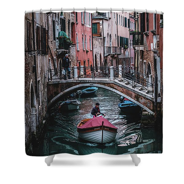 Boat On The River Shower Curtain