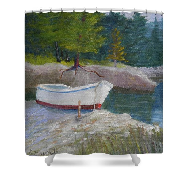 Boat On Tidal River Shower Curtain