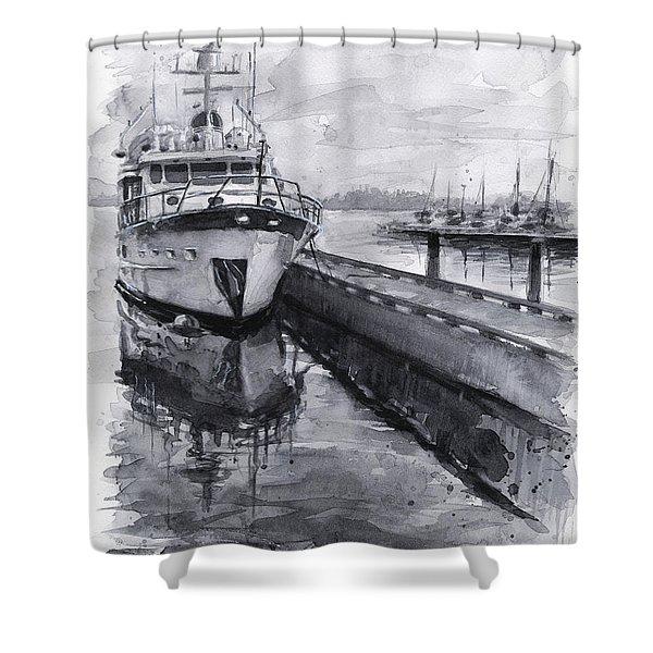 Boat On Waterfront Marina Kirkland Washington Shower Curtain