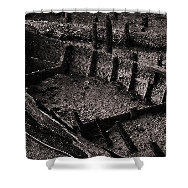 Boat Remains Shower Curtain by Carlos Caetano