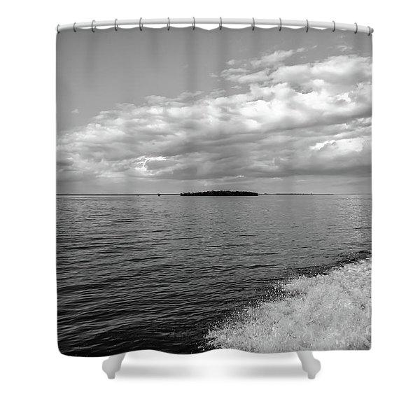 Boat Wake On Florida Bay Shower Curtain