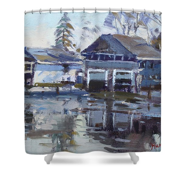 Boathouses By Icy Creek Shower Curtain