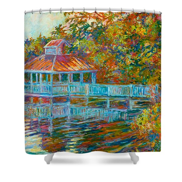 Boathouse At Mountain Lake Shower Curtain