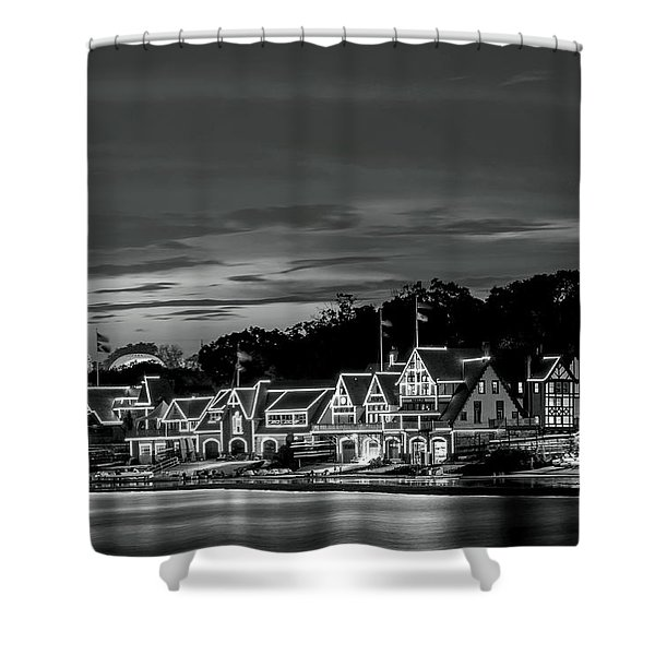 Boathouse Row Philadelphia Pa Night Black And White Shower Curtain