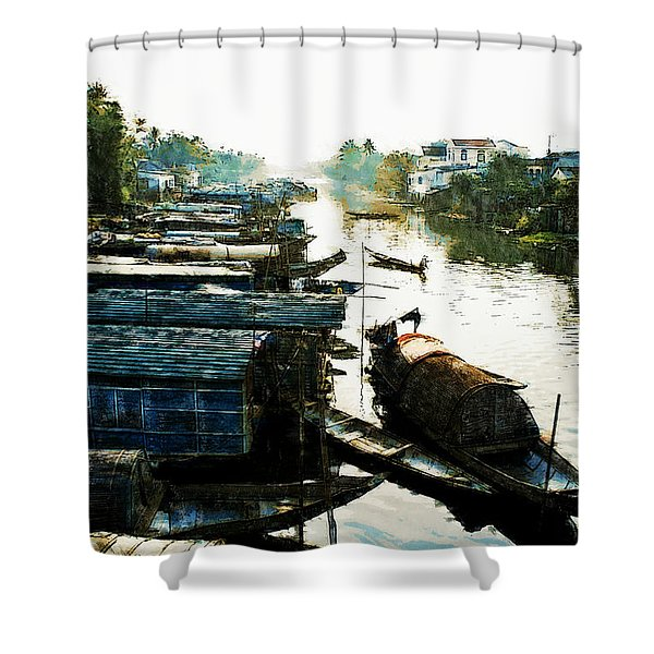 Boathouses In Vietnam Shower Curtain