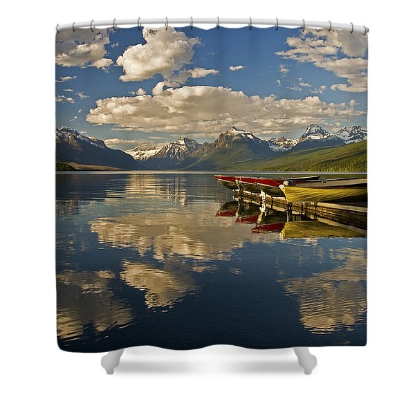 Boats At Lake Mcdonald Shower Curtain