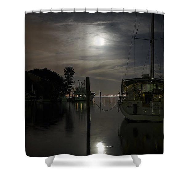 Boats At Moon Rise Shower Curtain