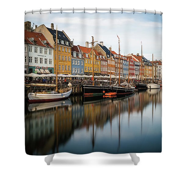 Boats At Nyhavn In Copenhagen Shower Curtain