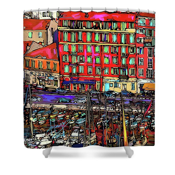 Boats In Nice, France Shower Curtain