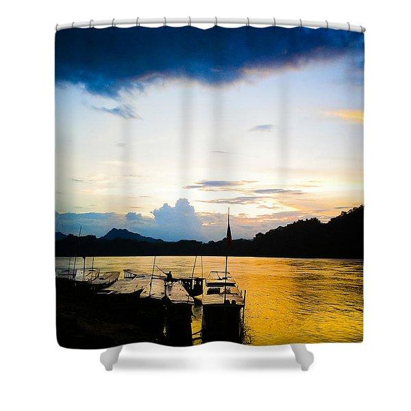 Boats In The Mekong River, Luang Prabang At Sunset Shower Curtain