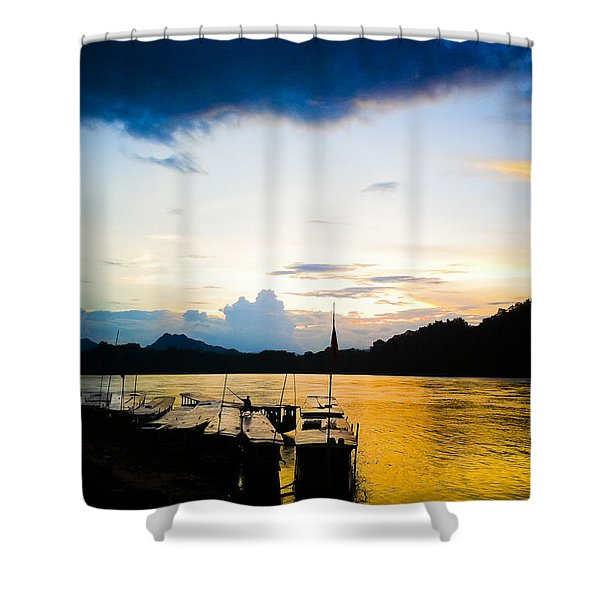 Boats In The Mekong River, Luang Prabang At Sunset Shower Curtain