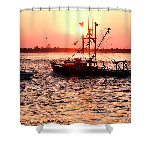 Boats In The Night At Long Beach Island Shower Curtain