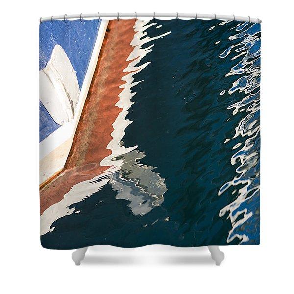 Boatside Reflection Shower Curtain