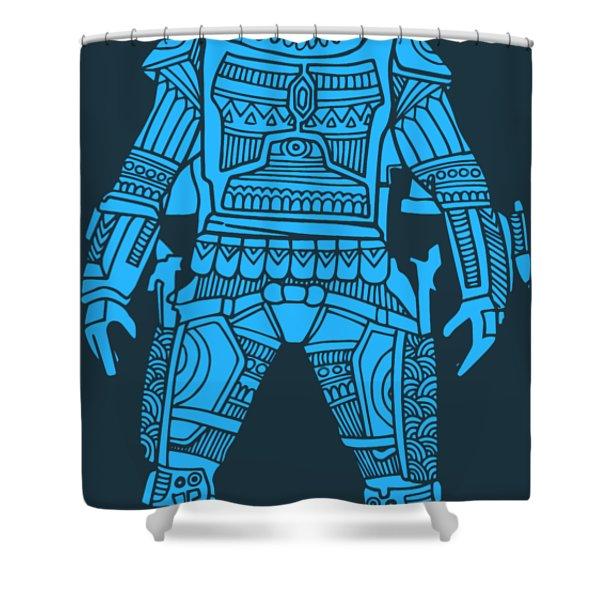 Boba Fett - Star Wars Art, Blue Shower Curtain
